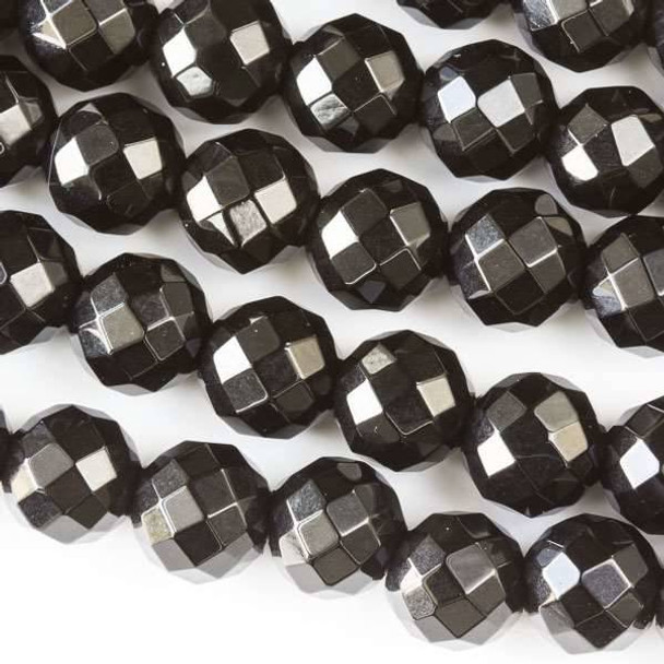 Faceted Large Hole Black Obsidian 10mm Round with a 2.5mm Drilled Hole - approx. 8 inch strand