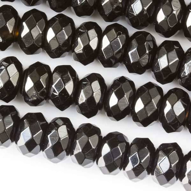 Faceted Large Hole Black Obsidian 6x10mm Rondelle with a 2.5mm Drilled Hole - approx. 8 inch strand