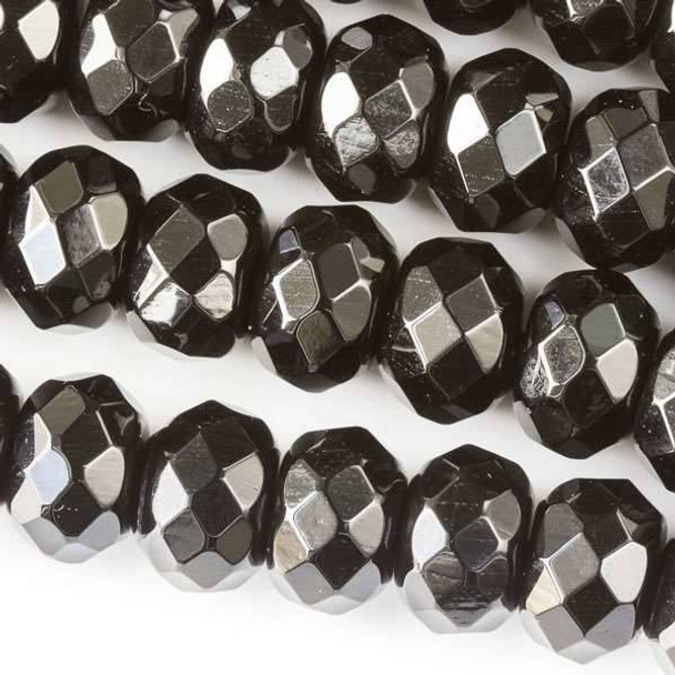 Faceted Large Hole Black Obsidian 8x12mm Rondelle with a 2.5mm Drilled Hole - approx. 8 inch strand