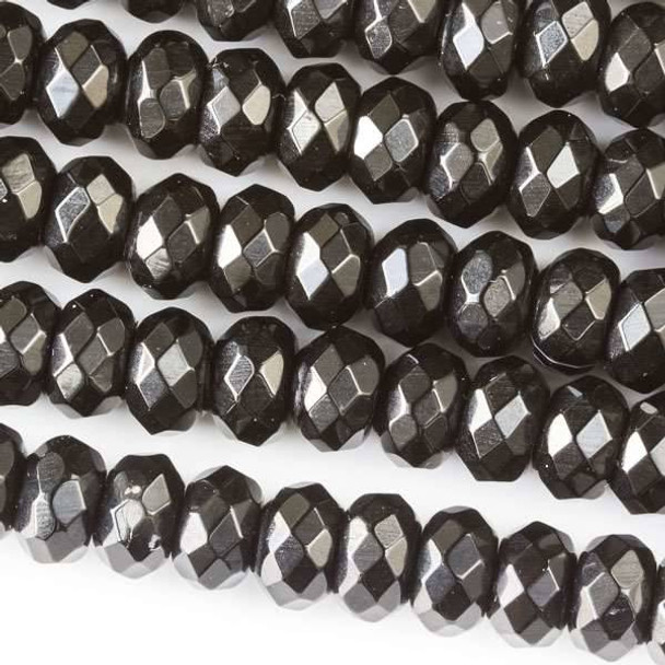 Faceted Large Hole Black Obsidian 5x8mm Rondelle with a 2.5mm Drilled Hole - approx. 8 inch strand