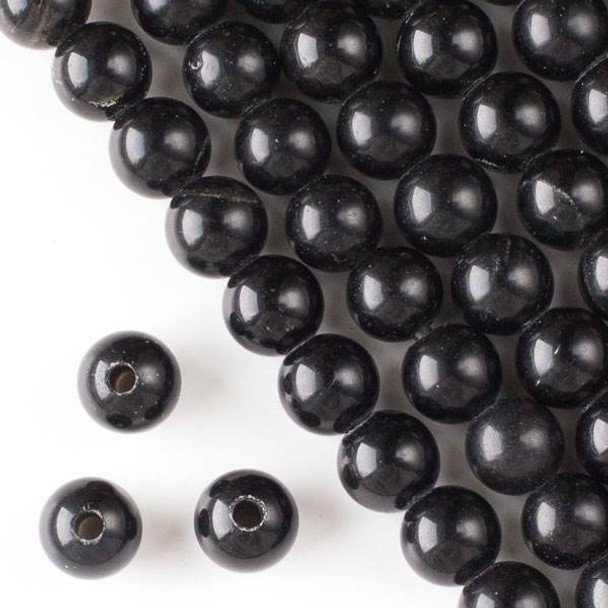 Large Hole Black Obsidian 12mm Round with 2.5mm Drilled Hole - approx. 8 inch strand