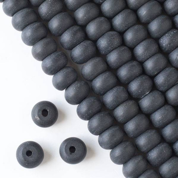 Matte Large Hole Black Obsidian 8x12mm Rondelle Beads with 2.5mm Drilled Hole - approx. 8 inch strand