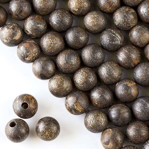 Matte Large Hole Bronzite 10mm Round with a 2.5mm Drilled Hole - approx. 8 inch strand