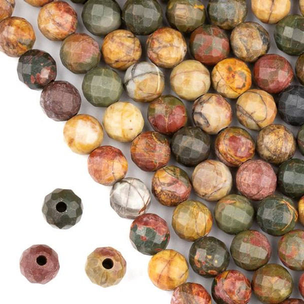 Faceted Large Hole Red Cherry Creek Jasper 10mm Round with a 2.5mm Drilled Hole - approx. 8 inch strand