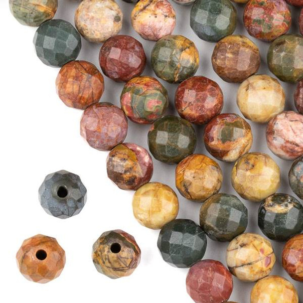 Faceted Large Hole Red Cherry Creek Jasper 12mm Round with a 2.5mm Drilled Hole - approx. 8 inch strand