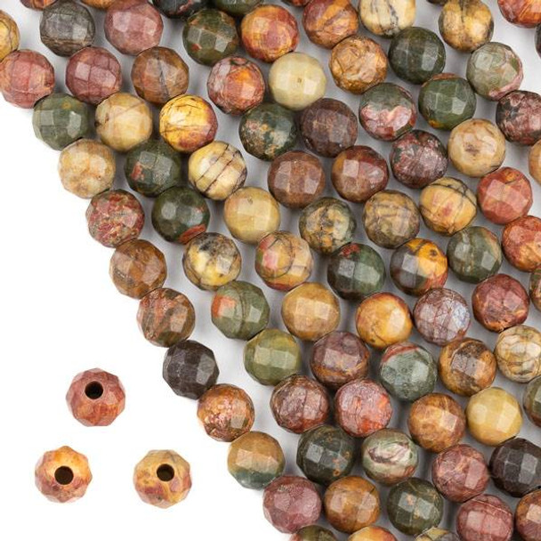 Faceted Large Hole Red Cherry Creek Jasper 8mm Round with a 2.5mm Drilled Hole - approx. 8 inch strand