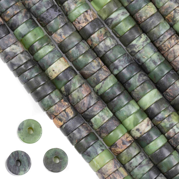 Matte Large Hole Chinese Jade 3-5x10mm Heishi with a 2.5mm Drilled Hole - approx. 8 inch strand