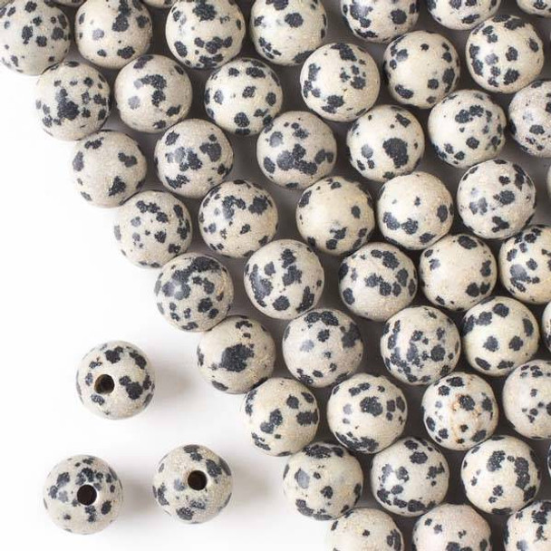 Large Hole Dalmatian Jasper 10mm Round Beads with a 2.5mm Drilled Hole - approx. 8 inch strand