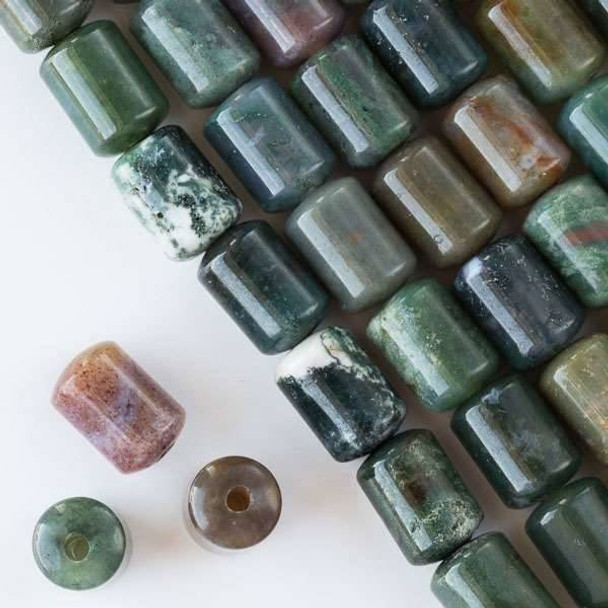 Large Hole Fancy Jasper 10x14mm Barrel with 2.5mm Drilled Hole - approx. 8 inch strand
