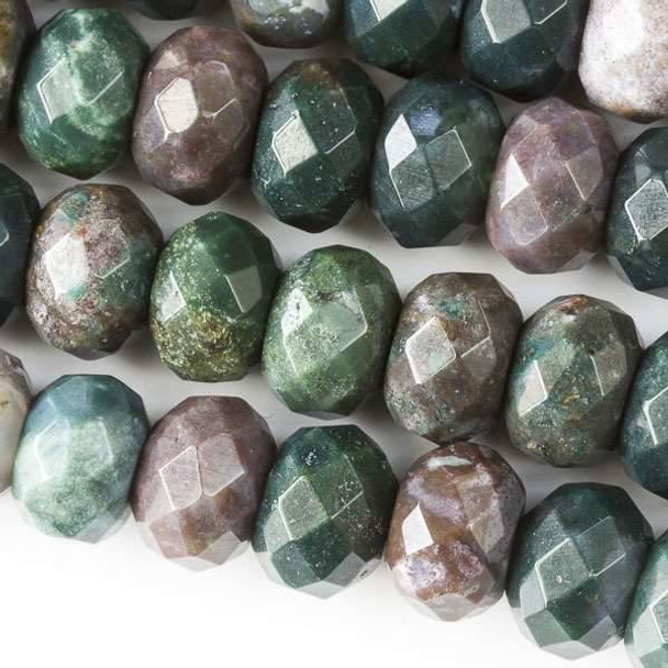 Faceted Large Hole Fancy Jasper 8x12mm Rondelle with a 2.5mm Drilled Hole - approx. 8 inch strand