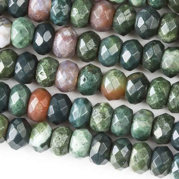 Faceted Large Hole Fancy Jasper 5x8mm Rondelle with a 2.5mm Drilled Hole - approx. 8 inch strand