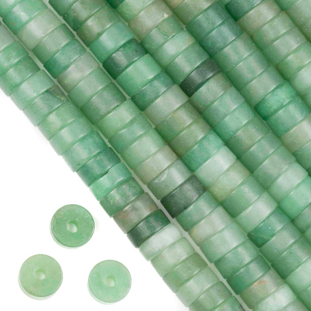 Matte Large Hole Green Aventurine 3-5x10mm Heishi with a 2.5mm Drilled Hole - approx. 8 inch strand
