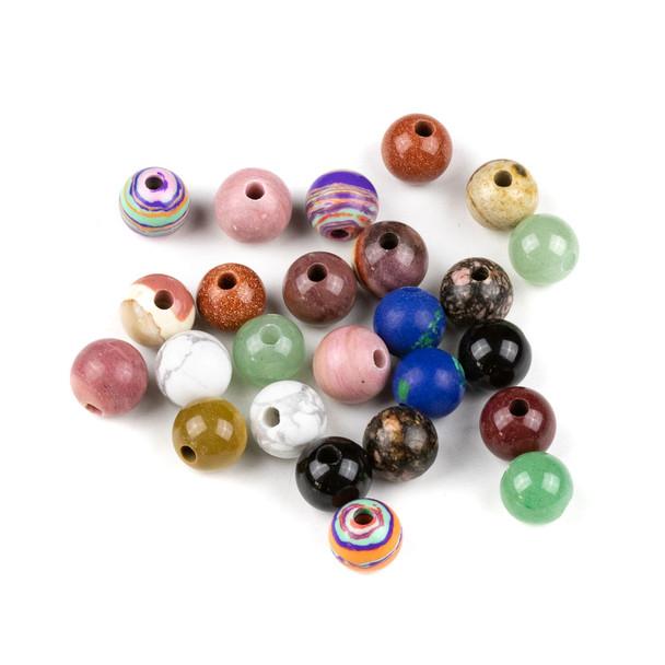 25 Mixed Smooth Large Hole 10mm Gemstone Round Beads