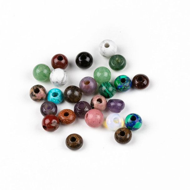 25 Mixed Smooth Large Hole 8mm Gemstone Round and Rondelle Beads