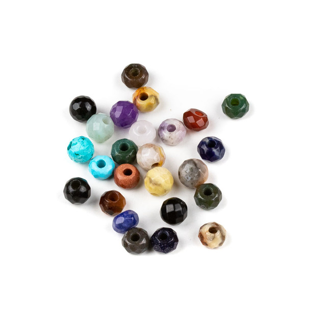 25 Mixed Faceted Large Hole 8mm Gemstone Round and Rondelle Beads