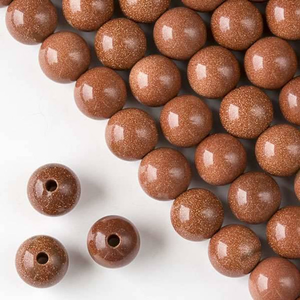 Large Hole Goldstone 12mm Round with 2.5mm Drilled Hole - approx. 8 inch strand