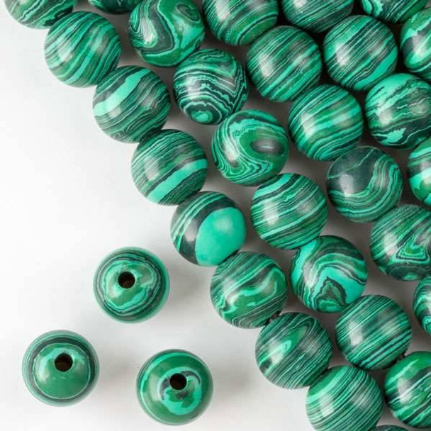 Large Hole Synthetic Malachite 12mm Round with 2.5mm Drilled Hole - approx. 8 inch strand