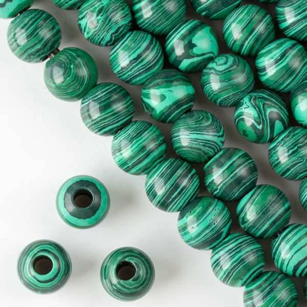 Large Hole Synthetic Malachite 12mm Round with 4mm Drilled Hole - approx. 8 inch strand