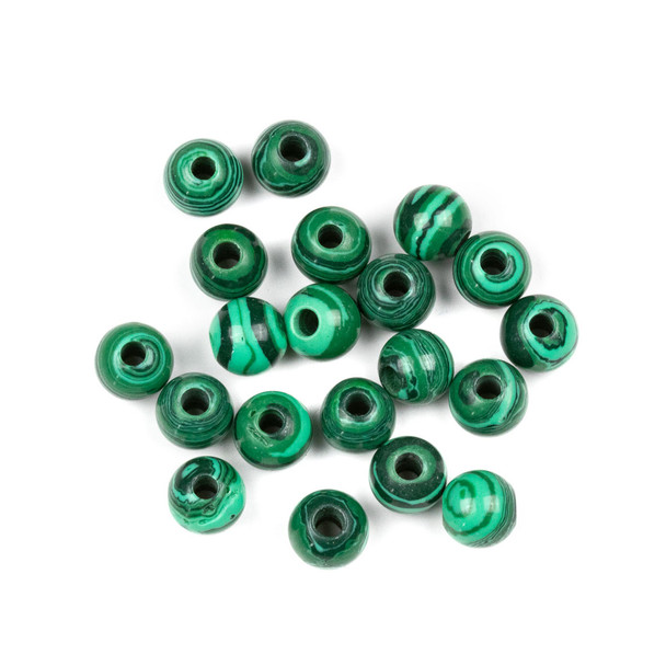 Large Hole Synthetic Malachite 8mm Round Beads with 2.5mm Drilled Hole - 20 per bag