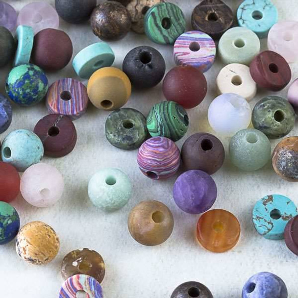 50 Mixed Matte Large Hole Gemstone Beads in Assorted Shapes and Sizes