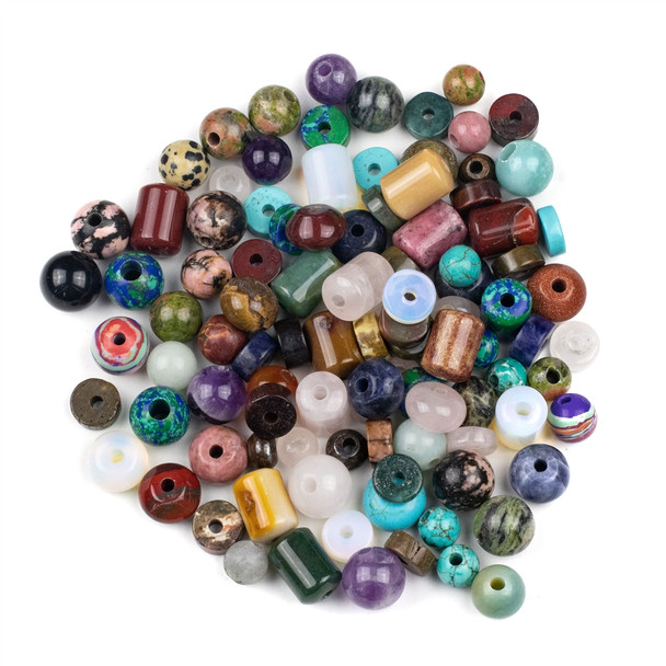 100 Mixed Smooth Large Hole Gemstone Beads in Assorted Shapes and Sizes