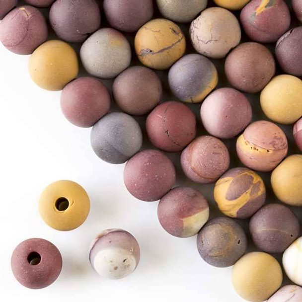 Matte Large Hole Mookaite 10mm Round with a 2.5mm Drilled Hole - approx. 8 inch strand