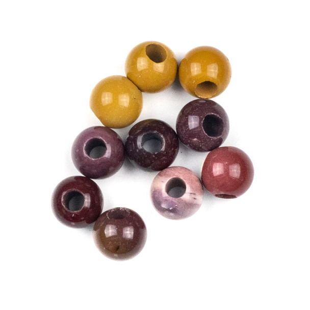 Large Hole Mookaite 12mm Round Beads with 4mm Drilled Hole - 10 per bag