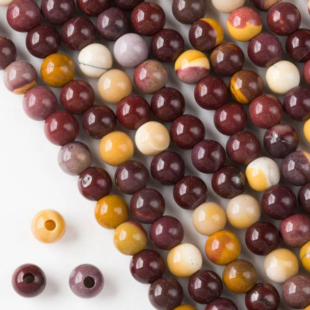 Large Hole Mookaite 8mm Round with 2.5mm Drilled Hole - approx. 8 inch strand