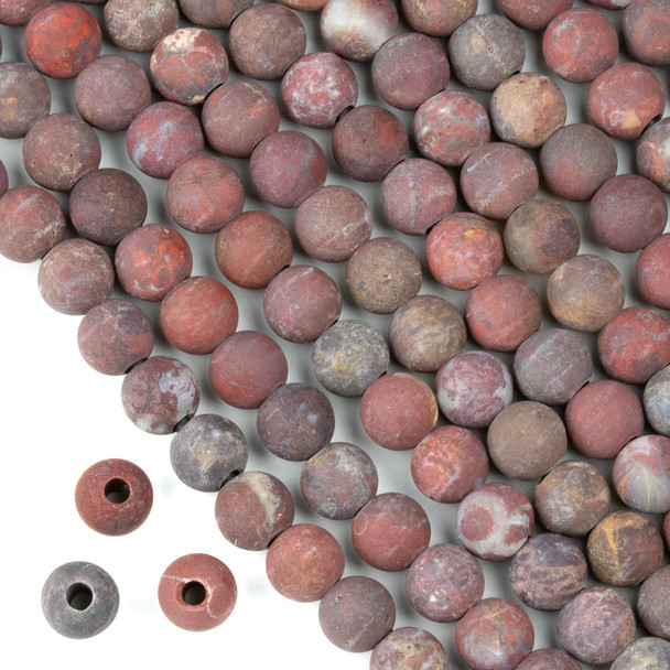 Matte Large Hole Rainbow Jasper 8mm Round Beads with a 2.5mm Drilled Hole - approx. 8 inch strand