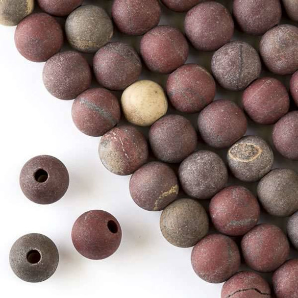 Matte Large Hole Rainbow Jasper 10mm Round with a 2.5mm Drilled Hole - approx. 8 inch strand