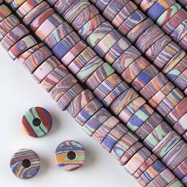 Matte Large Hole Synthetic Rainbow 3-5x10mm Heishi with a 2.5mm Drilled Hole - approx. 8 inch strand
