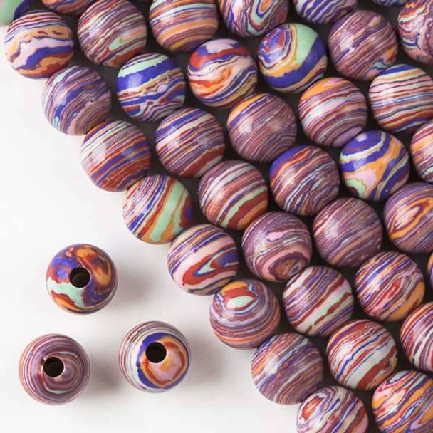 Large Hole Synthetic Rainbow 10mm Round with a 2.5mm Drilled Hole - approx. 8 inch strand