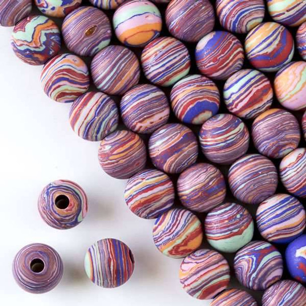 Matte Large Hole Synthetic Rainbow 10mm Round with a 2.5mm Drilled Hole - approx. 8 inch strand