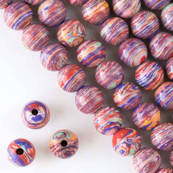 Large Hole Synthetic Rainbow 12mm Round with 2.5mm Drilled Hole - approx. 8 inch strand
