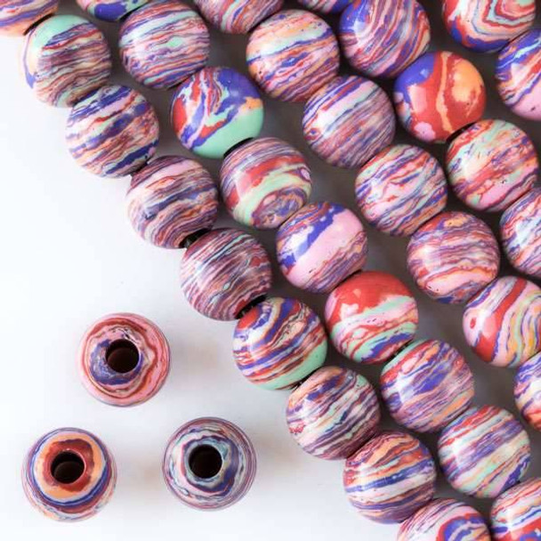 Large Hole Synthetic Rainbow 12mm Round with 4mm Drilled Hole - approx. 8 inch strand