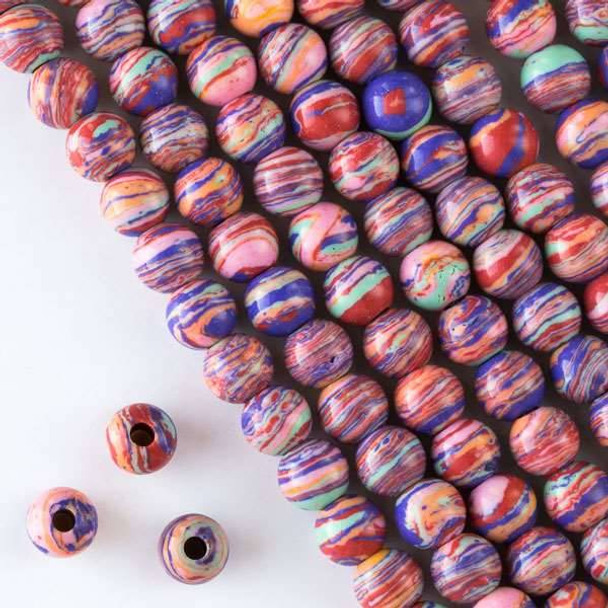 Large Hole Synthetic Rainbow 8mm Round with 2.5mm Drilled Hole - approx. 8 inch strand