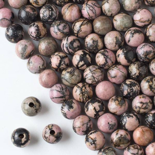 Large Hole Rhodonite with Matrix 10mm Round Beads with 2.5mm Drilled Hole - approx. 8 inch strand
