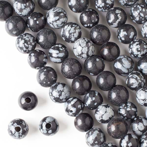 Large Hole Snowflake Obsidian 10mm Round Beads with a 2.5mm Drilled Hole - approx. 8 inch strand