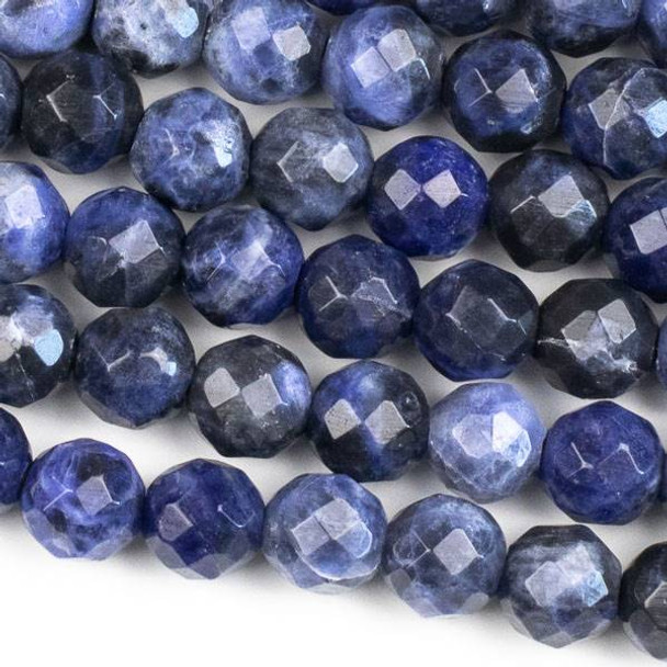 Faceted Large Hole Sodalite 10mm Round with a 2.5mm Drilled Hole - approx. 8 inch strand