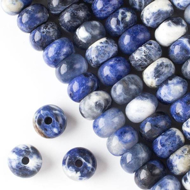 Large Hole Sodalite 8x12mm Rondelle with 2.5mm Drilled Hole - approx. 8 inch strand