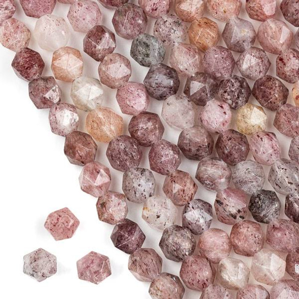 Large Hole Strawberry Quartz approximately 8mm Simple Faceted Star Cut with 2-2.5mm Drilled Hole - approx. 8 inch strand