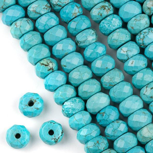 Faceted Large Hole Turquoise Howlite 8x12mm Rondelle with a 2.5mm Drilled Hole - approx. 8 inch strand