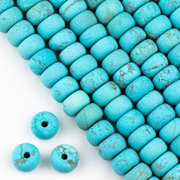 Matte Large Hole Turquoise Howlite 8x12mm Rondelle Beads with 2.5mm Drilled Hole - approx. 8 inch strand