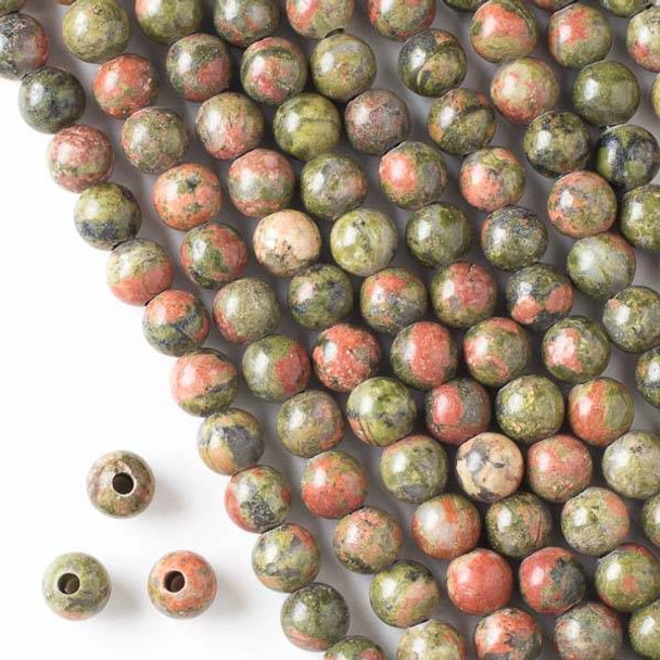 Large Hole Unakite 8mm Round Beads with a 2.5mm Drilled Hole - approx. 8 inch strand