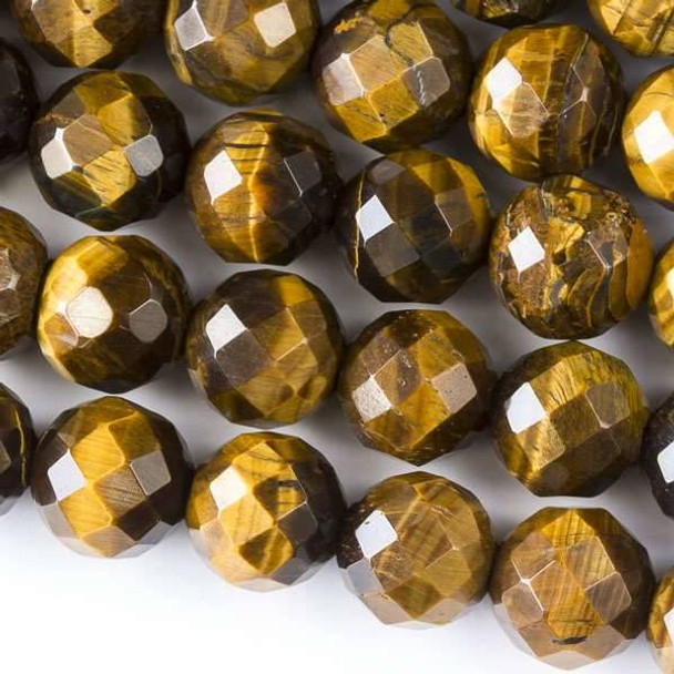 Faceted Large Hole Yellow Tigereye 12mm Round with a 2.5mm Drilled Hole - approx. 8 inch strand