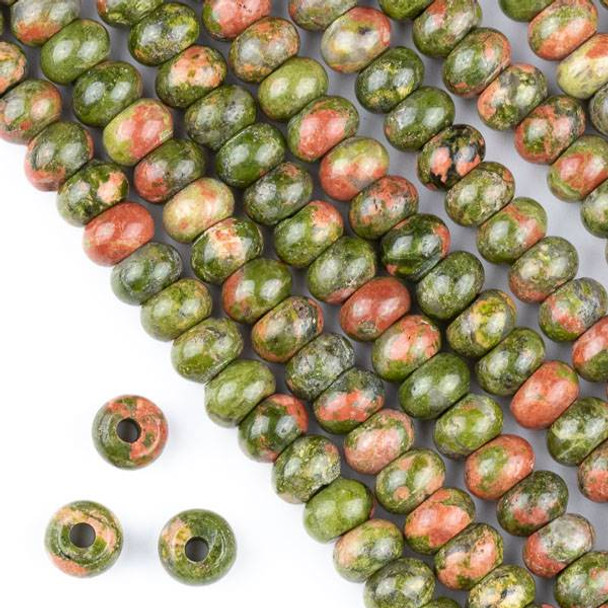 Large Hole Unakite (Natural Gemstone) 6x8mm Rondelle Beads with a 2.5mm Drilled Hole - approx. 8 inch strand