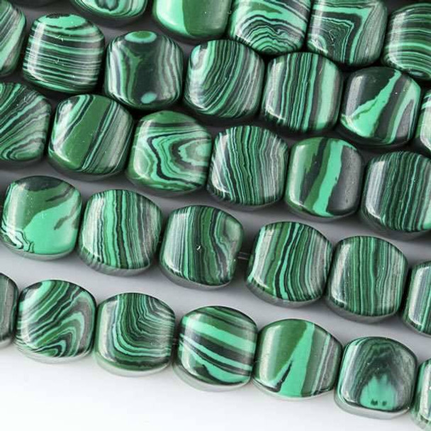 Synthetic Malachite 8mm Cushion Beads - approx. 8 inch strand, Set A