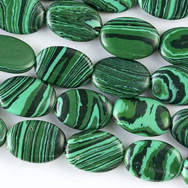 Synthetic Malachite 10x14mm Oval Beads - approx. 8 inch strand, Set A