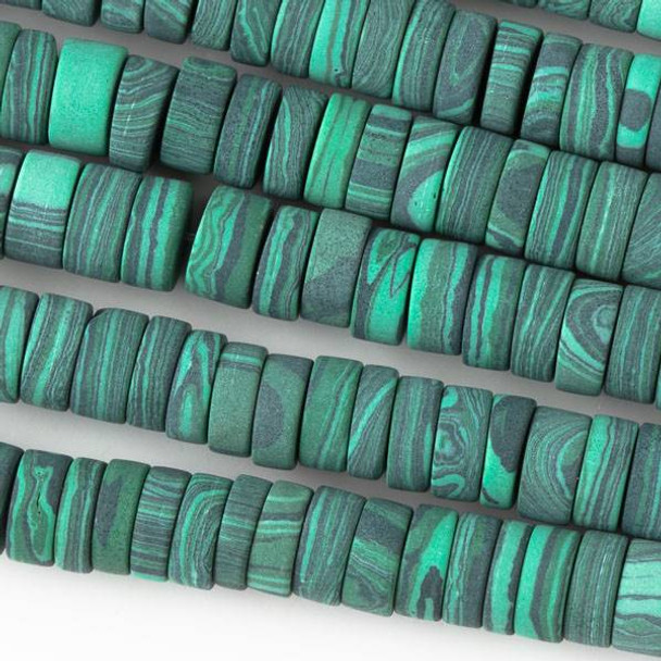 Matte Synthetic Malachite 3x8mm Heishi - 8 inch strand