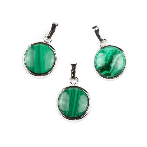 Malachite 12mm Coin Pendant with Silver Plated Bezel and Bail -  1 per bag